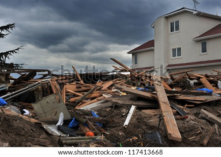 BROOKLYN, NY - NOVEMBER 01: Serious damage in the buildings at the Seagate neighborhood due to impact from Hurricane Sandy in Brooklyn, New York, U.S., on Thursday, November 01, 2012. #117413668