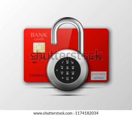 Credit card safe combination lock. Protection credit card. Safety badge banking. Defense finans. Security Plastic card software. Debit card electromagnetic chip Privacy Electronic money funds transfer #1174182034
