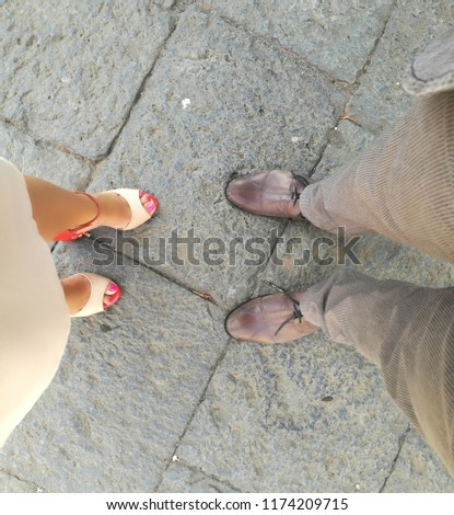 woman and man shoes go to marriage party #1174209715