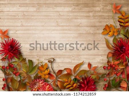 Autumn border on vintage wooden background #1174212859