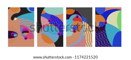 Vector Abstract Colorful Geometric and Curvy pattern background illustration. Set of Abstract Tribal Ethnic background for Cover, Poster, and print in Eps 10. #1174221520