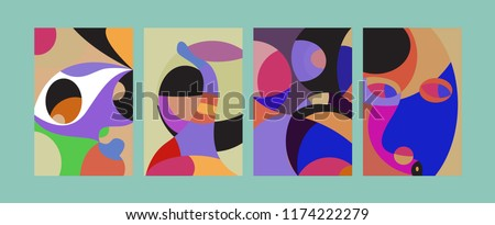 Vector Abstract Colorful Geometric and Curvy pattern background illustration. Set of Abstract Tribal Ethnic background for Cover, Poster, and print in Eps 10. #1174222279