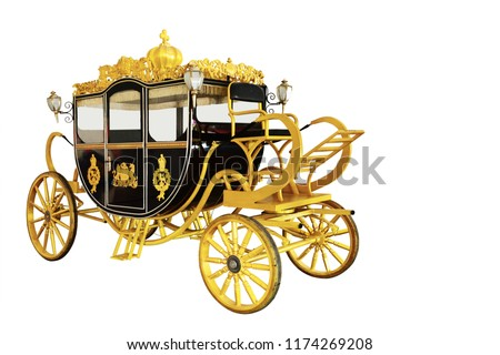The old royal horse carriage in the British royal court isolated on white backgroung. This has clipping path. Royalty-Free Stock Photo #1174269208