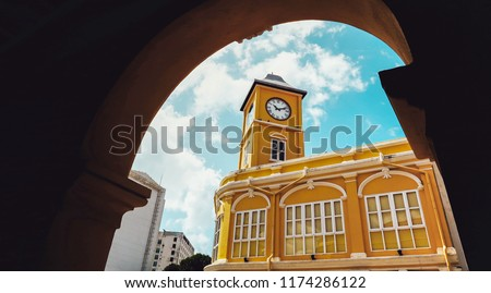 The best 2018 Phuket town, Phuket province, Thailand : Phuket town ,Chino-Portuguese clock tower in phuket old town, Thailand #1174286122