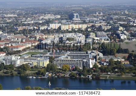 Austria, view over Floridsdorf district and Alte Donau lake #117438472