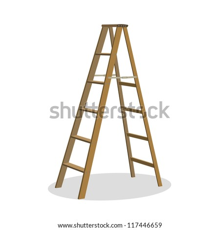 Illustration of various isolated ladders, stepladders -  set for your design #117446659