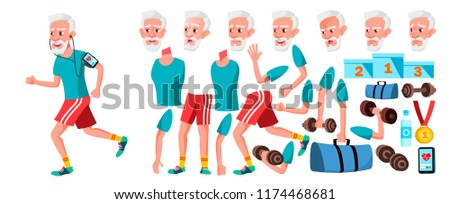 Old Man Vector. Senior Person Portrait. Elderly People. Aged. Animation Creation Set. Face Emotions, Gestures. Cheerful Grandparent. Card Design. Animated. Isolated Cartoon Illustration  #1174468681