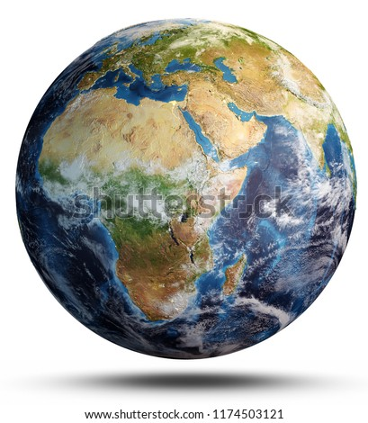 Planet Earth map. Elements of this image furnished by NASA. 3d rendering #1174503121