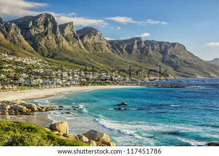 The beautiful city of Cape Town, with its gorgeous mountains white sand beaches and clear blue water Royalty-Free Stock Photo #117451786