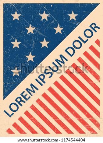 Postcard, flyer, poster, billboard, banner, cover, booklet, brochure, leaflet, catalog, calendar, invitation, background usa, american flag, american symbols #1174544404