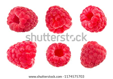 Raspberries. Fresh raw berries isolated on white background. With clipping path. Collection. #1174575703