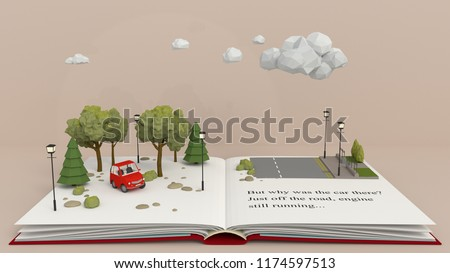 Story PopUp book. A car is found abandoned in the woods, close to a road.