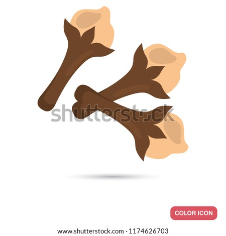 Clove spice color flat icon Royalty-Free Stock Photo #1174626703