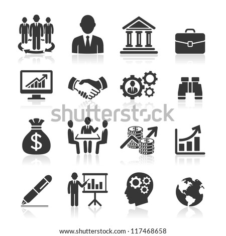 Business icons, management and human resources set1. vector eps 10. More icons in my portfolio. Royalty-Free Stock Photo #117468658