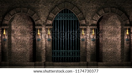 Arches and iron gate 3d illustration