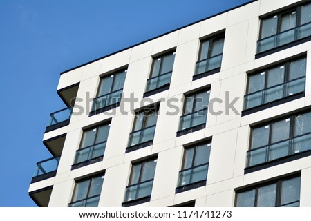 Abstract fragment of contemporary architecture. Residential modern building #1174741273