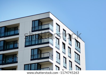 Abstract fragment of contemporary architecture. Residential modern building #1174745263