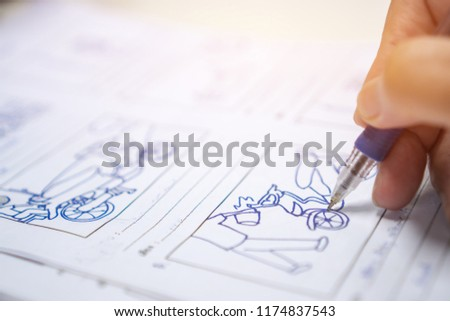 Storyboard or storytelling drawing creative for film process pre-production media films story script for video editors