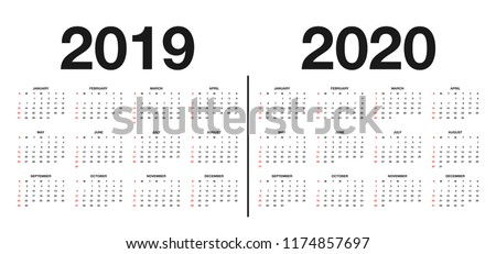 Calendar 2019 and 2020 template. Calendar design in black and white colors, holidays in red colors. Vector Royalty-Free Stock Photo #1174857697