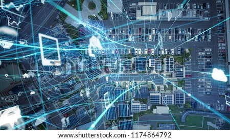 Social infrastructure and communication technology concept. IoT(Internet of Things). Autonomous transportation.  #1174864792