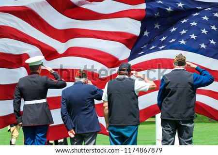 Soldier and Veterans Saluting at Memorial Day Ceremony #1174867879