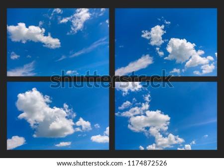 collection set of blue sky with white clouds. #1174872526