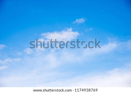 Blue sky background and white clouds soft focus, and copy space. #1174938769