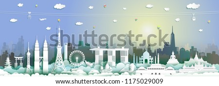 Landmarks Asia travel by cabel car,balloon and airplane,Landmark asian with city and tourism asean background,Tour world to Asian with origami paper cut style for travel poster and postcard vector. #1175029009