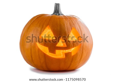 One Halloween Pumpkin isolated on white background #1175098570