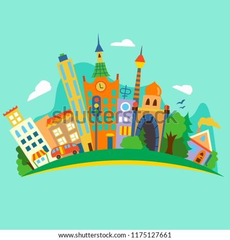Vector illustratiom of a flat city island. #1175127661