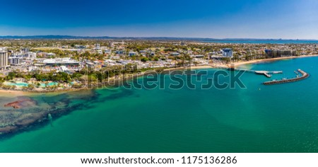 Aerial drone view of Settlement Cove Lagoon, Redcliffe, Brisbane, Australia #1175136286