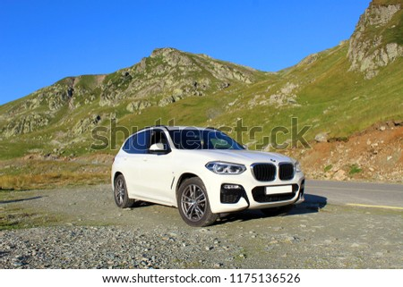 Transalpina, Romania - August 05, 2018: New BMW X3 on the Transalpina, Romania #1175136526