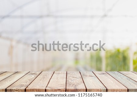 Empty wood table top and blurred greenhouses in agricultural farms. background - can used for display or montage your products. #1175165740