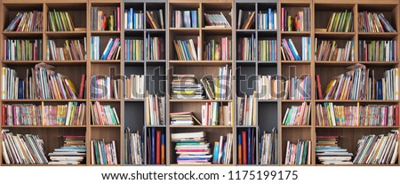 Wide book shelves with blurry effect on book cover #1175199175