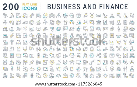 Set of vector line icons of business and finance for modern concepts, web and apps. Royalty-Free Stock Photo #1175266045