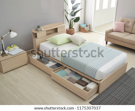 Modern peaceful Bedroom. modern style bedroom. Peaceful and serene bedroom. Single led bed for kids. #1175307037