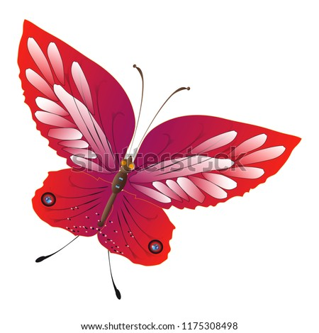 beautiful red butterflies, isolated on a white #1175308498