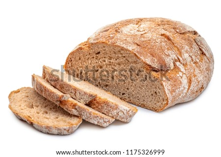 cutted rye round bread isolated on white #1175326999