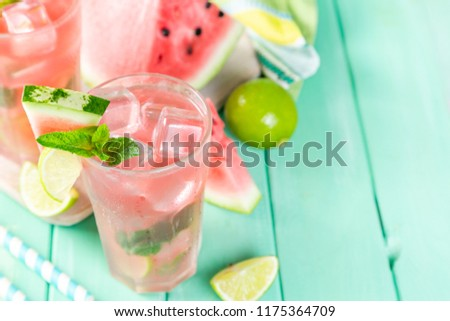 Watermelon lemonade with lime and mint, wood background, copy space #1175364709