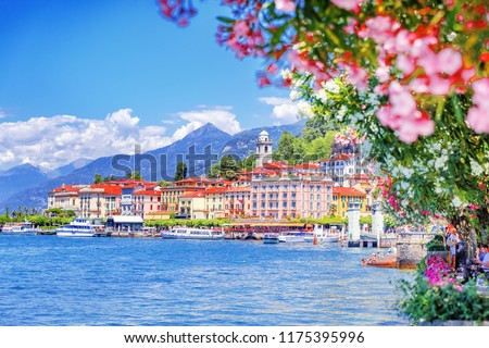 Como lake in Italy. Spectacular view on coastal town - Bellagio, Lombardy. Famous Italian recreation zone and popular European travel destination. Summer scenery. #1175395996