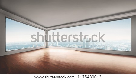 Empty yoga studio and cityscape view