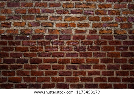 Old brick wall. Horizontal wide brick wall background. Vintage house facade. #1175453179
