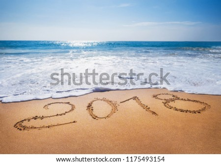 Old Year 2018 expires concept sandy tropical   ocean beach lettering concept image and Happy New Year 2019 is coming #1175493154
