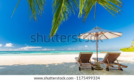 Maldives islands with blue sea water, pretty endless beach, soft white sands, luxury water villa, straight coconut trees, wonderful sunset and sun rise, blue sky. Luxury summer vacation concept #1175499334