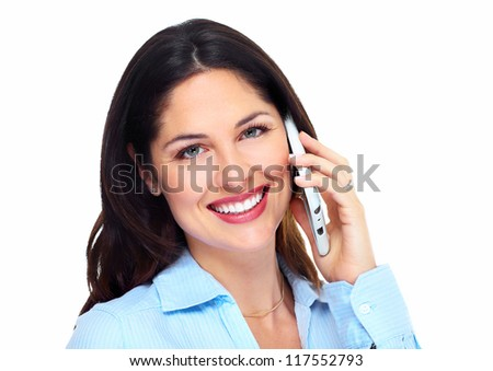 Woman with a cell phone. Isolated on white background. #117552793