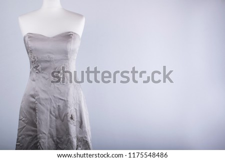 A Tailors Mannequin dressed in a Silver Dress #1175548486