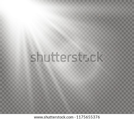 Sunlight a translucent special design of the light effect. Vector blur in the light of radiance. Isolated sunlight transparent background. Element of decor. Horizontal rays of light. #1175655376