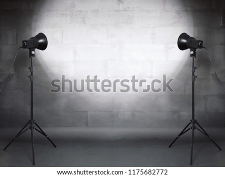 photo studio in old grunge room with concrete wall, urban background #1175682772