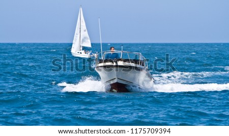 Ventura, CA, USA - 9th September 2012: Motorboat at Ventura, California, USA #1175709394