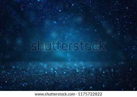 glitter vintage lights background. black and blue. de-focused #1175722822
